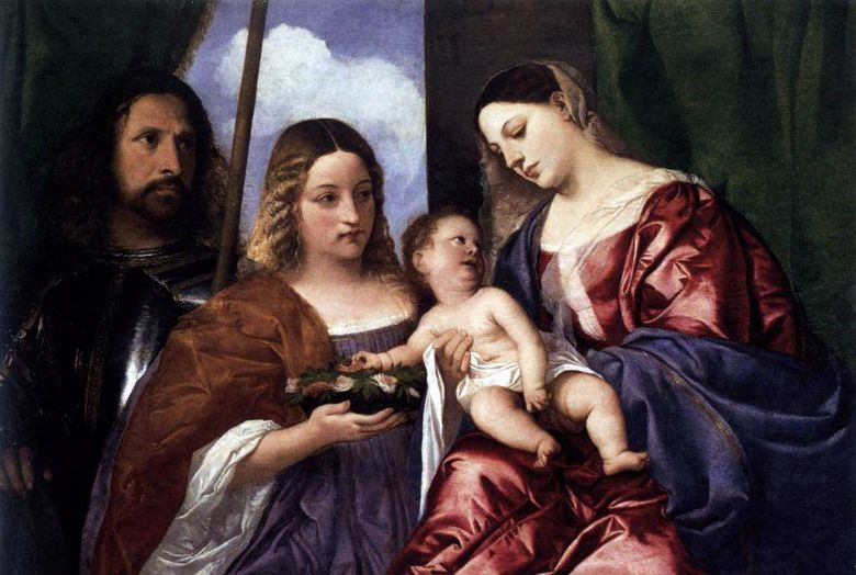 Saint Dorothea와 George가있는 Madonna and Child   Titian Vecellio